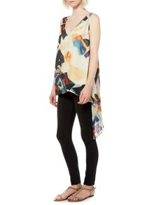 Cut Out Multi Print Vee Top