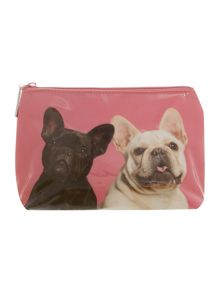 Pink mr and mrs bulldog large wash bag