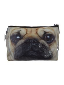 Brown pug medium cosmetics bag