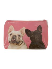 Pink medium mr and mrs bulldog cosmetics bag