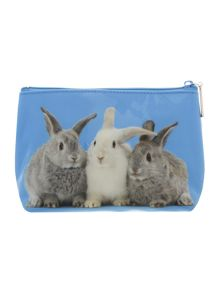 Blue bunnies large wash bag