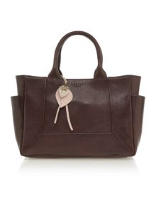 Border brown leather medium tote bag