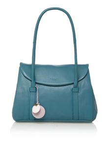 Waterloo blue medium flapover tote leather bag