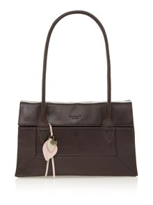Border brown leather medium flap over tote bag
