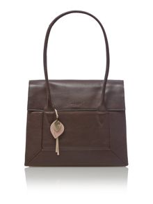 Border brown leather large flap over tote bag