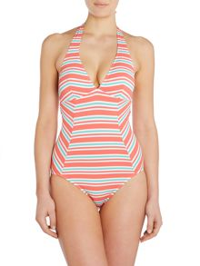 Melon Stripe Swimsuit