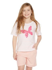 Girls Sequin Butterfly Short Sleeved Top