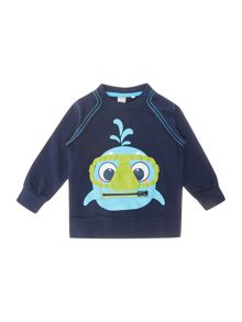 Boys Fish Logo Crew Neck Sweater