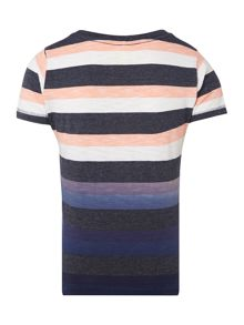 Boys Short Sleeved Striped Top With Pocket