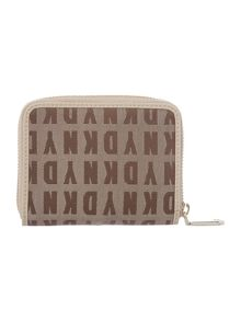 Saffiano tan small zip around purse