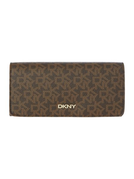 DKNY Heritage coated brown large flap over purse