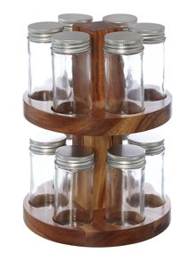 Acacia spice rack set