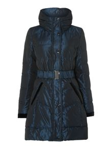 Metal blue ladies down jacket