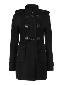 Halifax Traders Black ladies wool duffle coat with hood