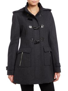 Black ladies wool duffle coat with hood