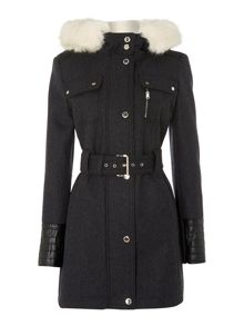 Dark grey ladies wool/faux leather coat