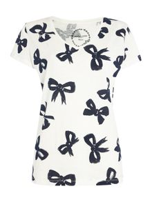 Top bows print table tee