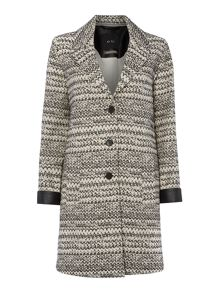 Oui Long coat with zigzag detail