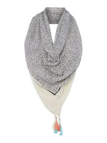Oui Dot print scarf with border