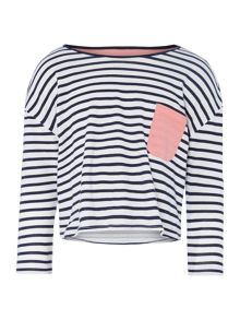 Girls Cropped Stripe Top With Contrast Pocket