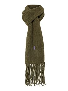 Wool and cashmere cable knit scarf
