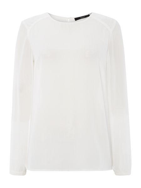 Oui Crew neck blouse with slash back detail
