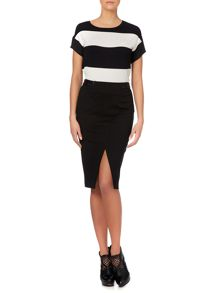 Pencil skirt with front split and leather waist
