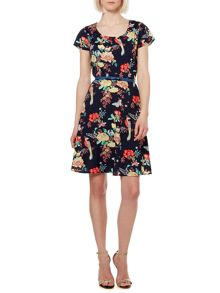 Butterfly floral skater dress