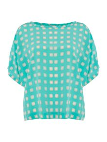 Silk square print top with 3/4 sleeve
