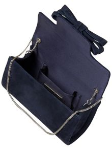 Elena suede bow clutch bag