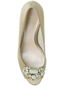 Juliana satin embellished peep toe shoes
