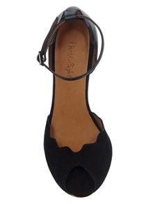Phase Eight Tamara scalloped leather peep toe shoes