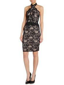 Lipsy Lace halter bodycon dress