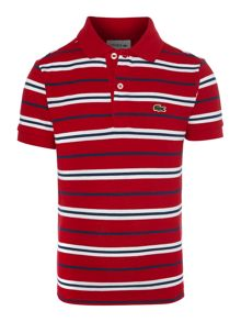 Boys short-sleeved striped polo shirt