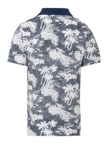 Boys short-sleeved palm print polo shirt