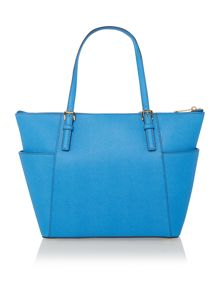 Jetset Item blue zip top tote bag