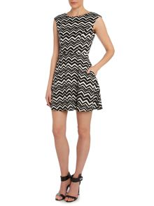Louche Short sleeve fit and flare dress