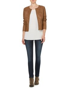 Collarless biker jacket