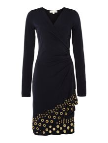 Wrap dress with grommet hem