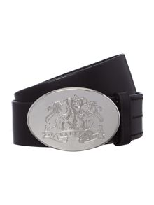 Leather oval plate belt
