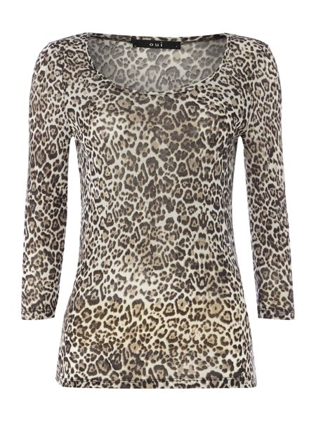Oui Long sleeve leopard print top