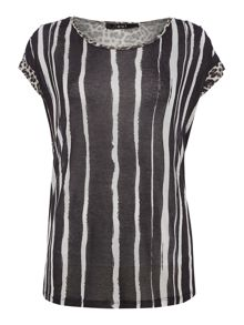 Oui Tshirt with vertical stripes