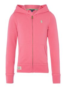 Girls Long Sleeved Zip Hoodie With Large Pony