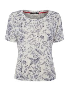 Oui Linen t-shirt with willow print