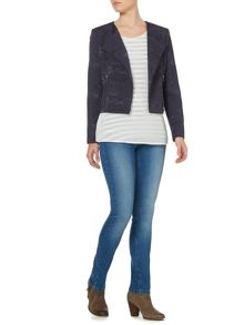 Collarless jacquard biker jacket