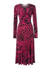 Ikat printed wrap dress