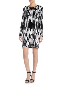 All over sequin ikat dress