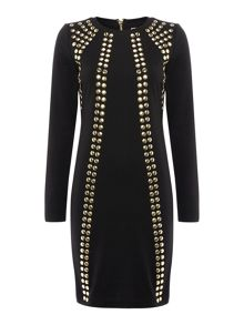 Stud front long sleeve dress