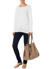 Phase Eight Luna lace hem linen top