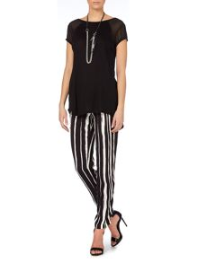 Oui Vertical stripe print trousers